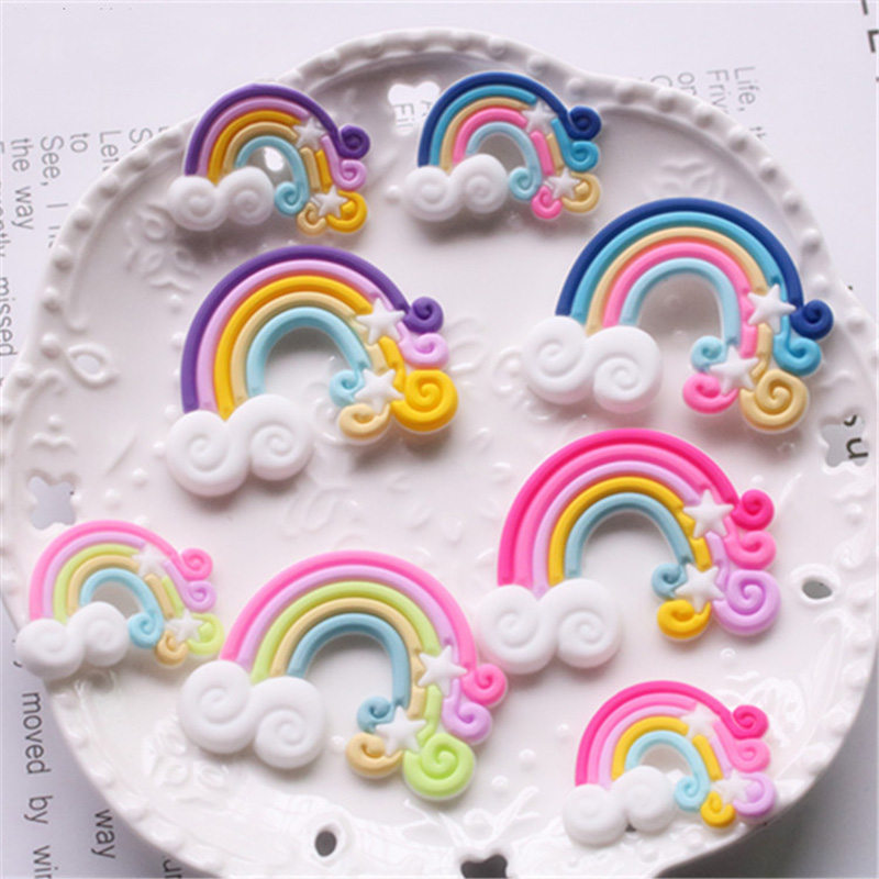10Pcs Kawaii Rainbow Silicone Rubber Flatback Cabochon DIY Hair Bows Centers Jewelry Making Accessories Phone Decoration Crafts