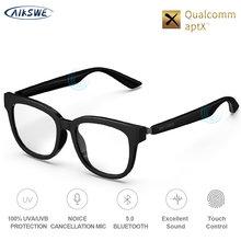 AIKSWE inteligentne okulary Bluetooth 5.0 anty-niebieskie światło okulary dotykowy bezprzewodowy Stereo muzyka z HD Mic PK HUAWEI X delikatny potwór