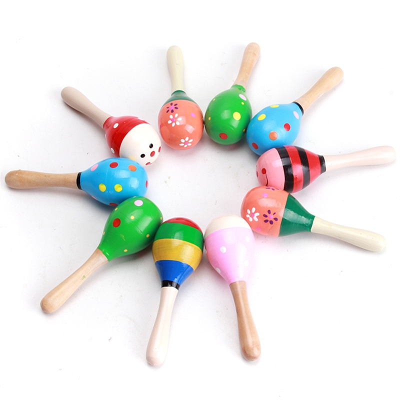 2 PC High Quality Mini Wooden Ball Children Toys Percussion Musical Instruments Sand Hammer