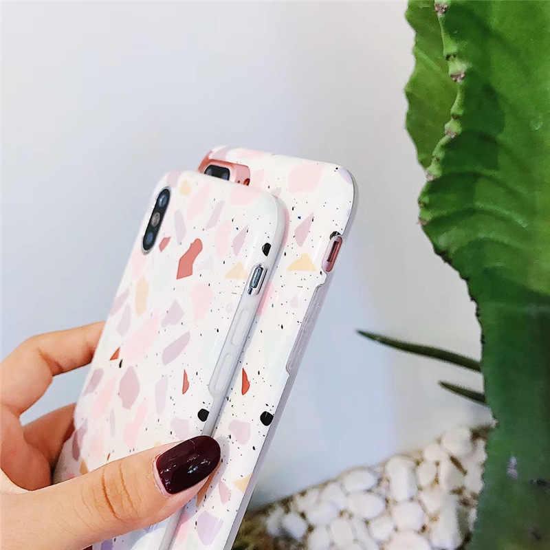 Fundas geométricas para teléfono con textura de parche para iPhone XR XS Max 6 6S 7 8 Plus X suave IMD mate funda trasera fina de regalo para mujer