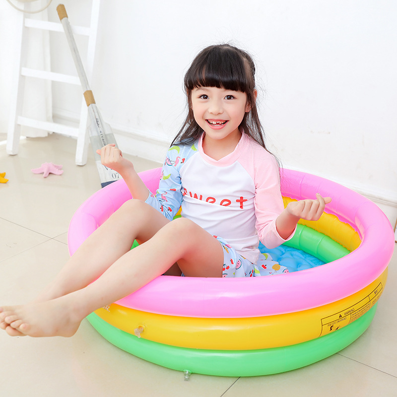 Hot Inflatable Swimming Pool Round Three-color Children's Inflatable Pool Baby Pool PVC Thickening Water Toy Summer Gift