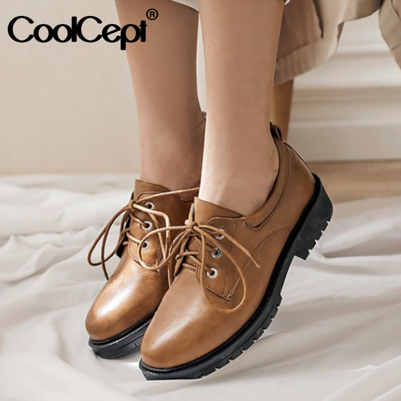 CoolCept Women Flats Shoes Fashion Lace Up Casual Shoes Women Spring Round Toe Solid Color British Style Footwear Size 34-43
