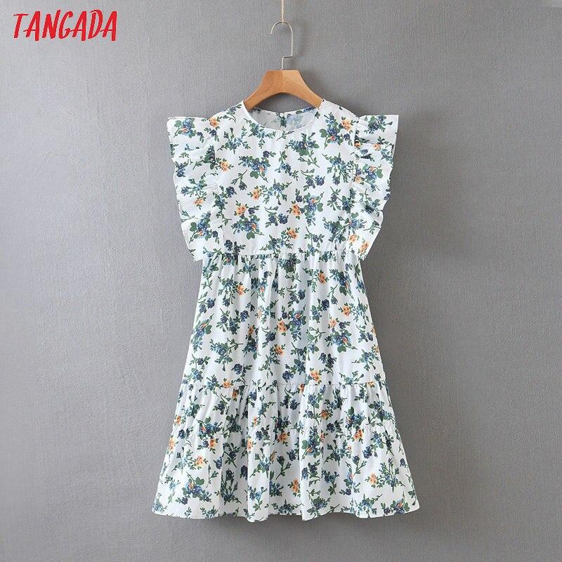 Tangada Fashion Women Green Floral Print Mini Dress Ruffles 0 Neck Short Sleeve Ladies Vintage Chiffon Dress Vestidos SL227