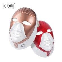 7 iebilif Recarregável Cores Led Máscara Para Cuidados Com A Pele Levou Terapia Fóton Rosto Beleza Máscara Facial Com Pescoço Estilo Egito