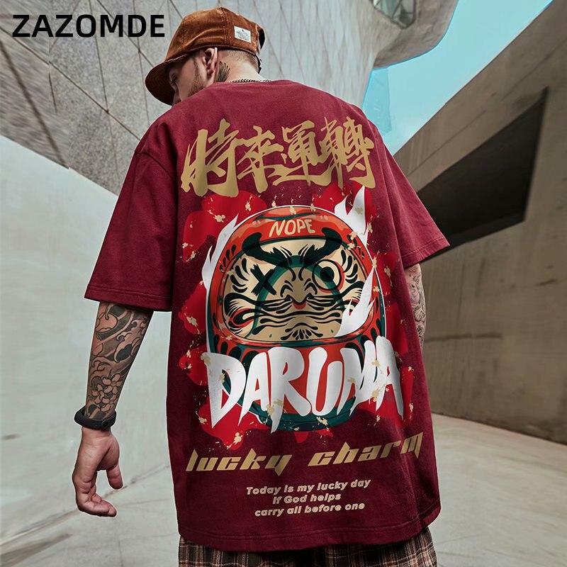Футболка мужская с принтом на удачу, повседневная хлопковая рубашка в китайском стиле, с коротким рукавом, в стиле хип-хоп, уличная одежда, л...