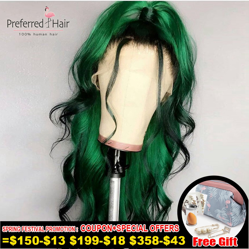 Preferred Ombre Green Wig With Black Roots 13x6 Ombre Human Hair Wig Glueless Remy Brazilian Red Lace Front Wigs For Black Women