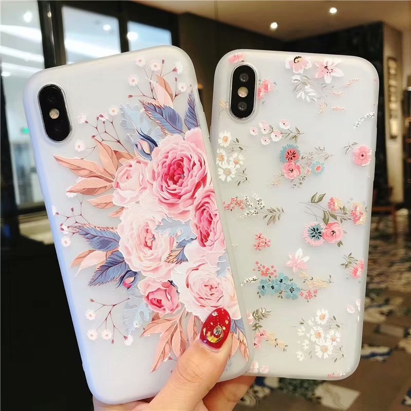 Casos de Telefone flor Para o iphone X XR 7 8 6 6S XS Mais Max Caso Rosa Floral Vintage Ultra fina Matte Macio TPU Silicone Folhas Capa