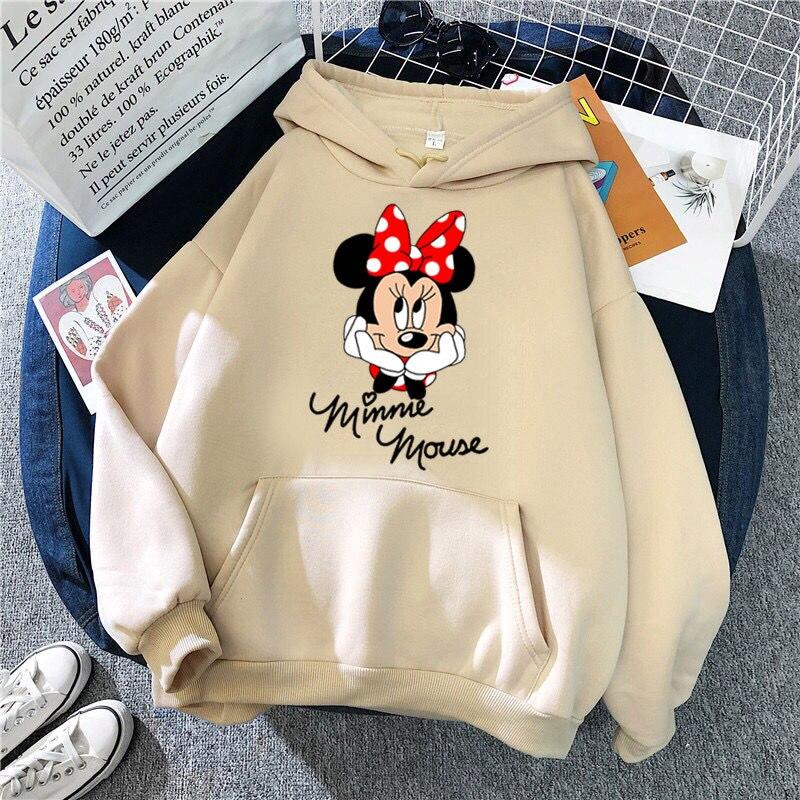 Disney 2021cartoon print sweatshirt women Funny hip hop Mickey Mouse print autumn and winter fashion Harajuku style hoodie women 29