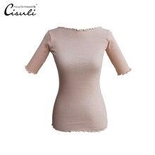 天然シルクコットン女性シャツ五分袖シャツエレガントな高弾性環境にやさしい生地フリーサイズ