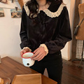 French Retro Velvet Peter Pan Collar Non-mainstream Shirt Women's 2019 New Style Autumn And Winter Loose-Fit Joint Lace Long-sle