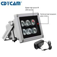 Lámpara de 45/60 grados CCTV Led IR iluminador infrarrojos, Conjunto de 6 Uds., Led IR impermeable, visión nocturna, luz de relleno CCTV para cámara CCTV