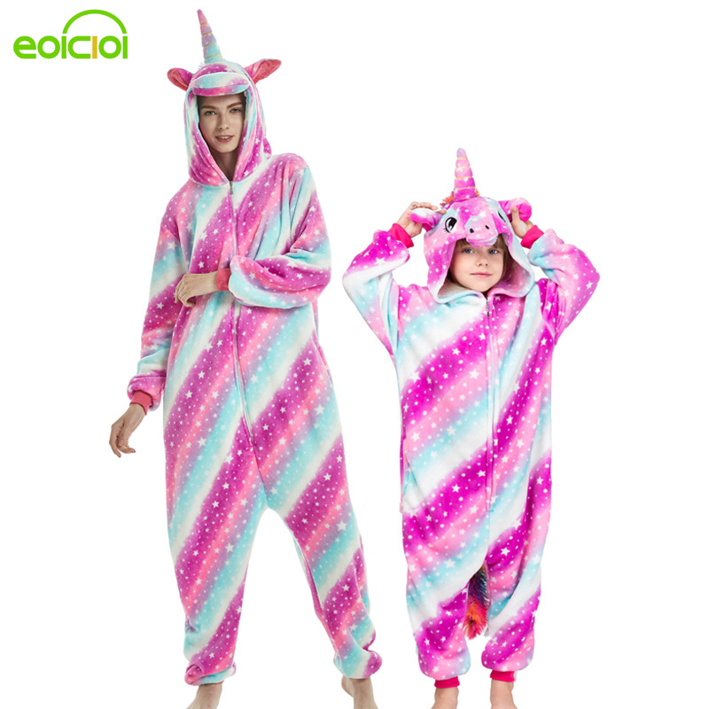 23 New Animal Unicorn Stitch Mother And Daughter Family Matching Pajamas Clothes Winter Flannel Hooded Women Kids Family Pyjamas