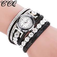 Women Watch Bracelet Watch with Diamond Ring CCQ Women Vintage Shining Crystal Bracelet Dial Analog Quartz Wrist Watch @3(China)