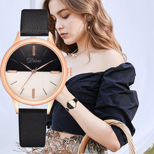 7 color Luxury Fashion Lady Simple Dial Leather Belt Watch Two Tone Quartz Watch часы женские glass alloy case casual gifts hot(China)