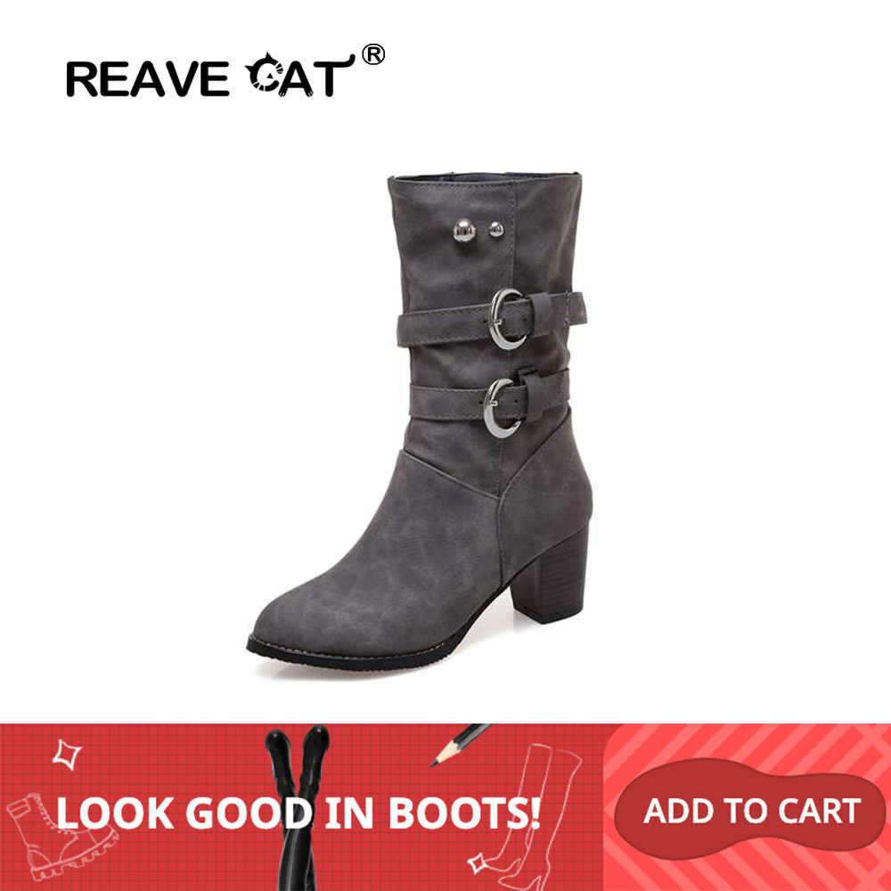 REAVE CAT/Большие размеры 34-46; женские ботинки на не сужающемся книзу массивном каблуке; ботильоны для женщин на высоком квадратном каблуке с пряжкой и заклепками; sapatos feminino