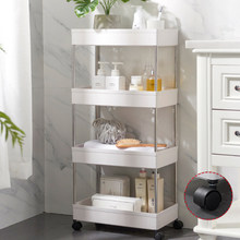2/3/4 Tier Slim Storage Cart Mobile Shelving Unit Organizer Slide Out Storage Rolling Utility Cart Rack for Kitchen Bathroom