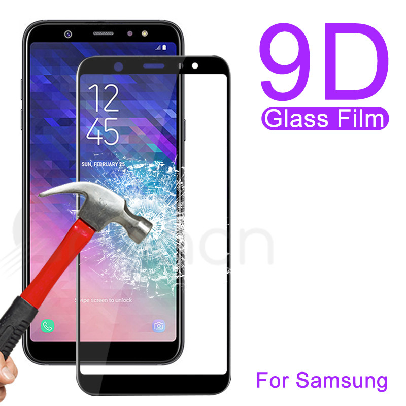 Full Cover Protective Glass On The For Samsung Galaxy A3 A5 A7 2016 2017 A6 A8 A9 2019 Tempered Glass Screen Protector Film Case
