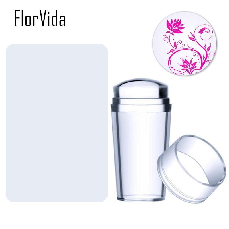 FlorVida 1 Set Transparent Silicone Stamper With Two Shape Plastic Scraper DIY Nail Art Tool
