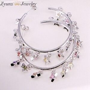 Image 2 - 3 paires, couleur or/argent mignon cz étoile boucle doreille avec arc en ciel brillant cz étoile pour les femmes de luxe charme fête bijoux