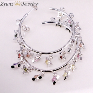 Image 2 - 3Pairs, Gold /silver Color cute cz star Earring with Shiny rainbow cz star For Women luxury charm party Jewelry