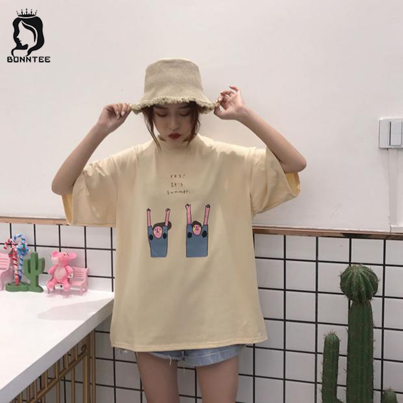 Women 5 Quarter Sleeve T-shirt Summer Couple T-shirts Womens Fashion Loose Top Female Chic Breathable Tops Females Korean Style