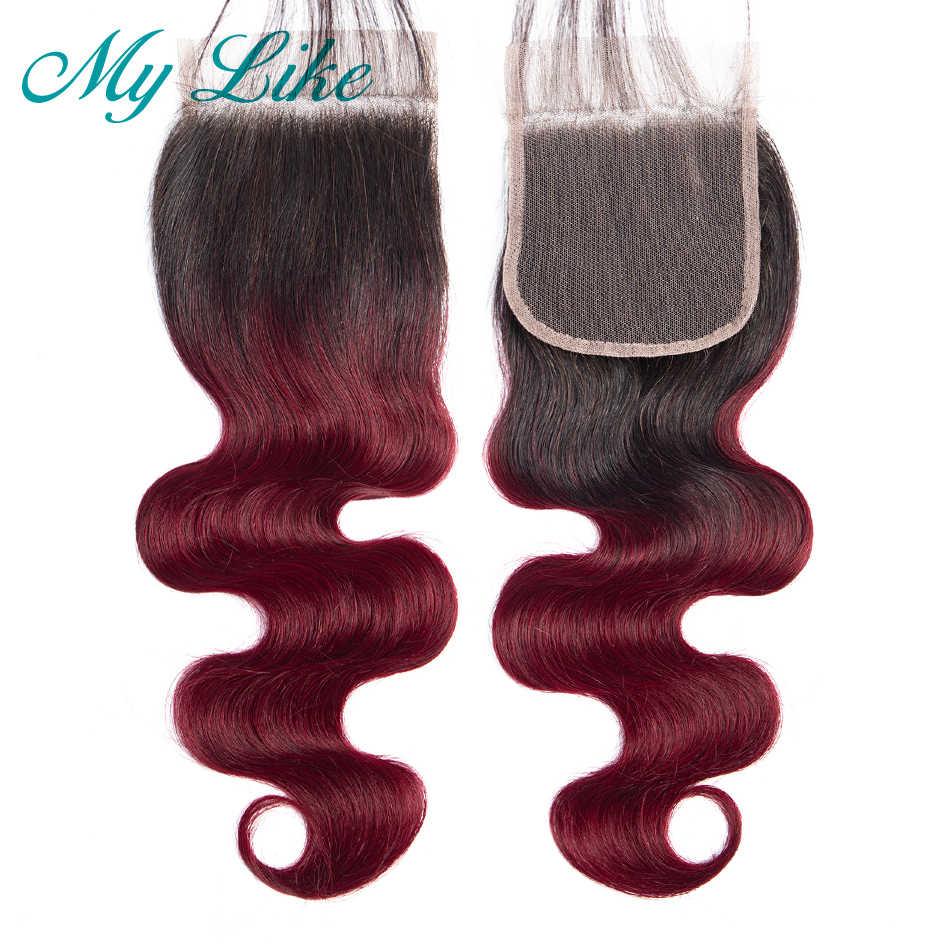 Saya Seperti Ombre Bundel dengan Penutupan 1B/99j Merah Marun Merah Rambut Manusia Tubuh Gelombang Bundel dengan Penutupan Non- remy Brasil Menenun Rambut