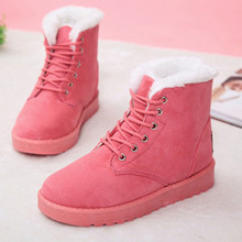 Promotion Winter 2019 New Women Shoes Snow Boots Flats Ankle Boots for Women Flock Fashion Casual Lace-Up Solid Shoes Woman