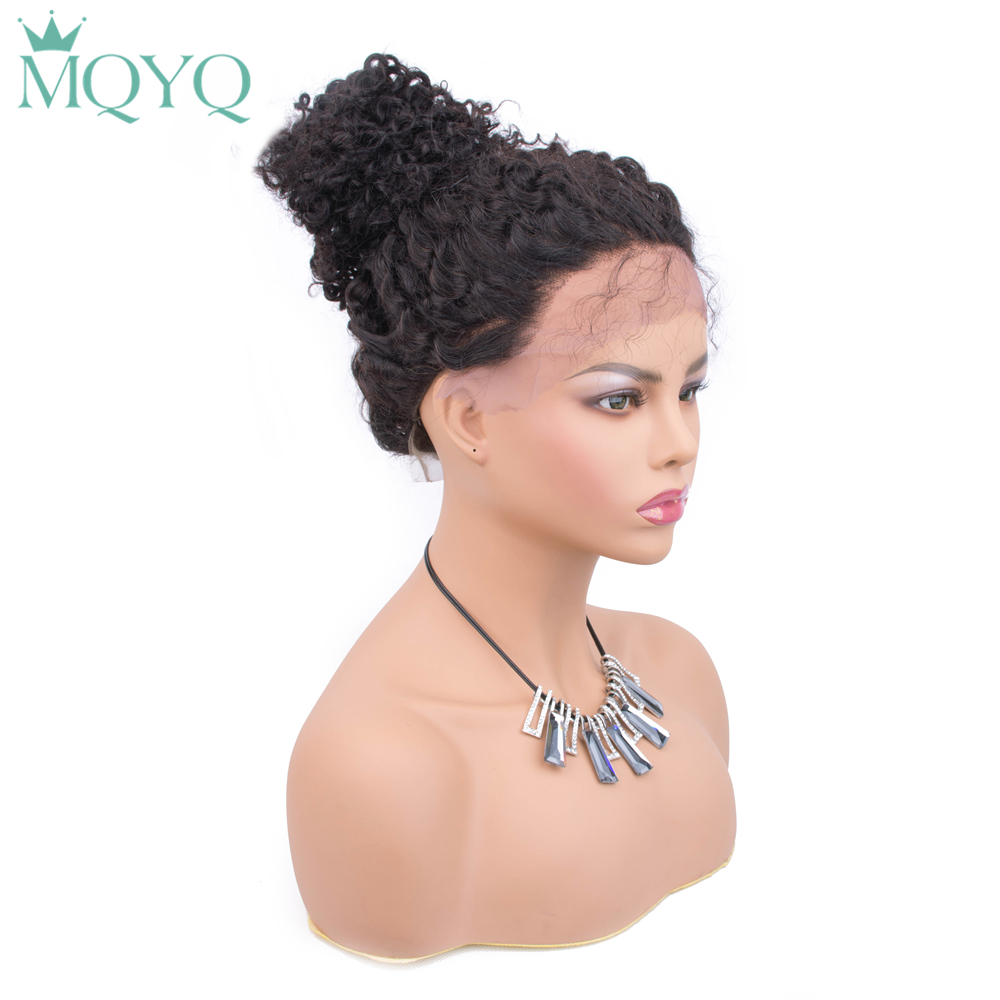 MQYQ Deep Wave 4x4 Lace Closure Human Hair Wigs Brazilian Non-Remy Hair Lace Wigs Hairline With Baby Hair For Black Women