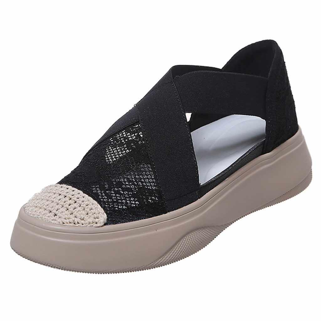 MUQGEW ผู้หญิงรองเท้าสีขาว Casual Hallow ลูกไม้ Cross Fitness รองเท้านุ่มสบายยืดหยุ่นฝาครอบรองเท้า chaussures femme