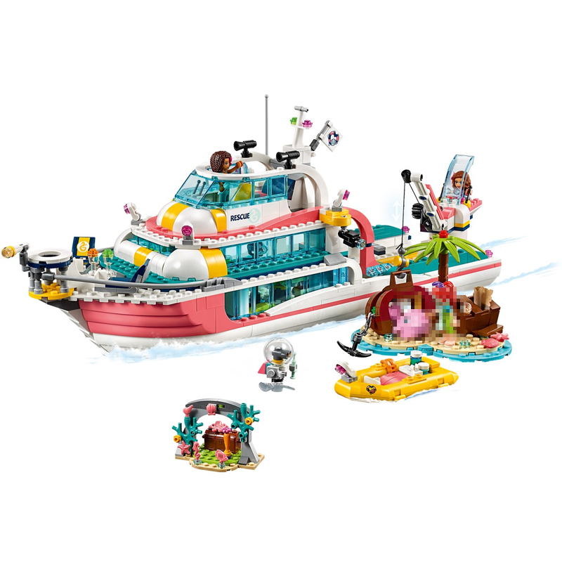 2020 New Lepinblocks Friends Series Lepining Heartlake Rescue Boat Building Blocks  Bricks Toys Sets Compatible Friends 41381