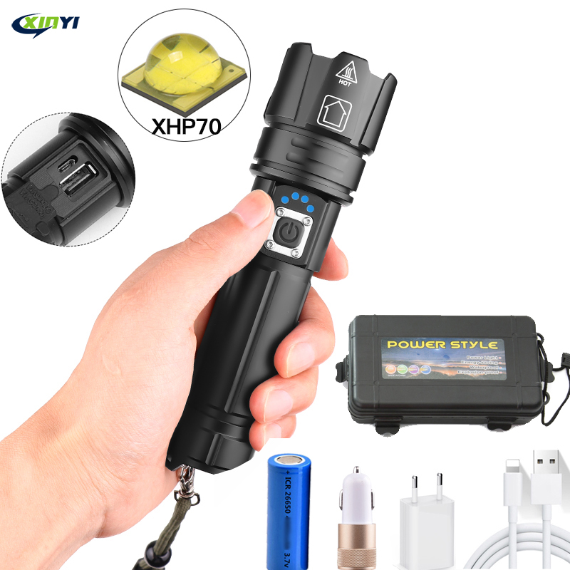 80000LM Powerful Led Flashlight XHP70 Flashlight USB Charging Zoom Led Torch Lanter 1*26650 Battery For Camping  Cycling Lamp