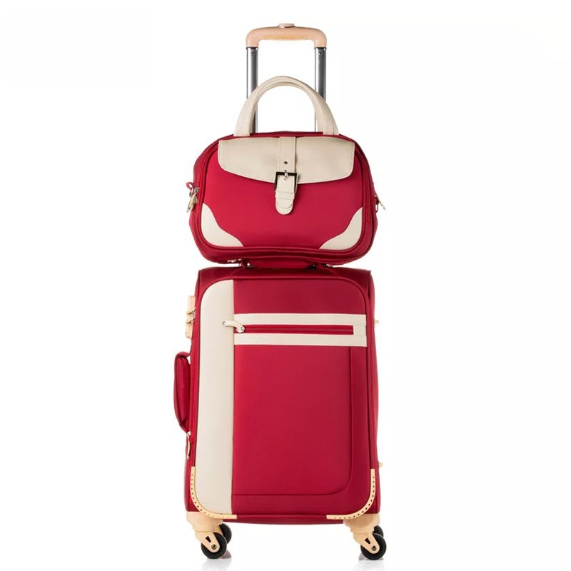 GALANODEL Waterproof Oxford Cloth Trolley Luggage Set Travel Suitcase Spinner Wheels Rolling Luggage Fashion Women Suitcase