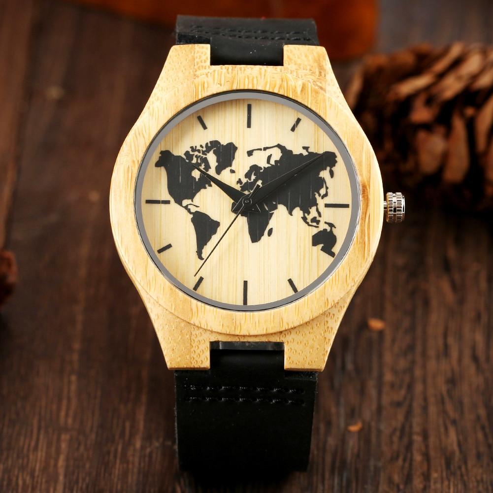 Creative Men's Bamboo Watch World Map Pattern Art Ink Display Hot Fashion Men Genuine Leather Wristwatch Clock Hour Wooden Watch