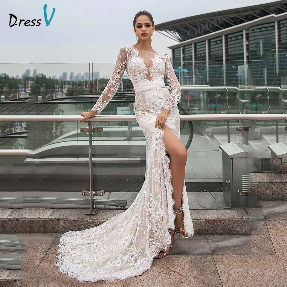 Dressv Bateau Neck Wedding Dress Long Sleeves Mermaid Lace Split Front Sashes Outdoor&church Wedding Dresses Custom Bowknot