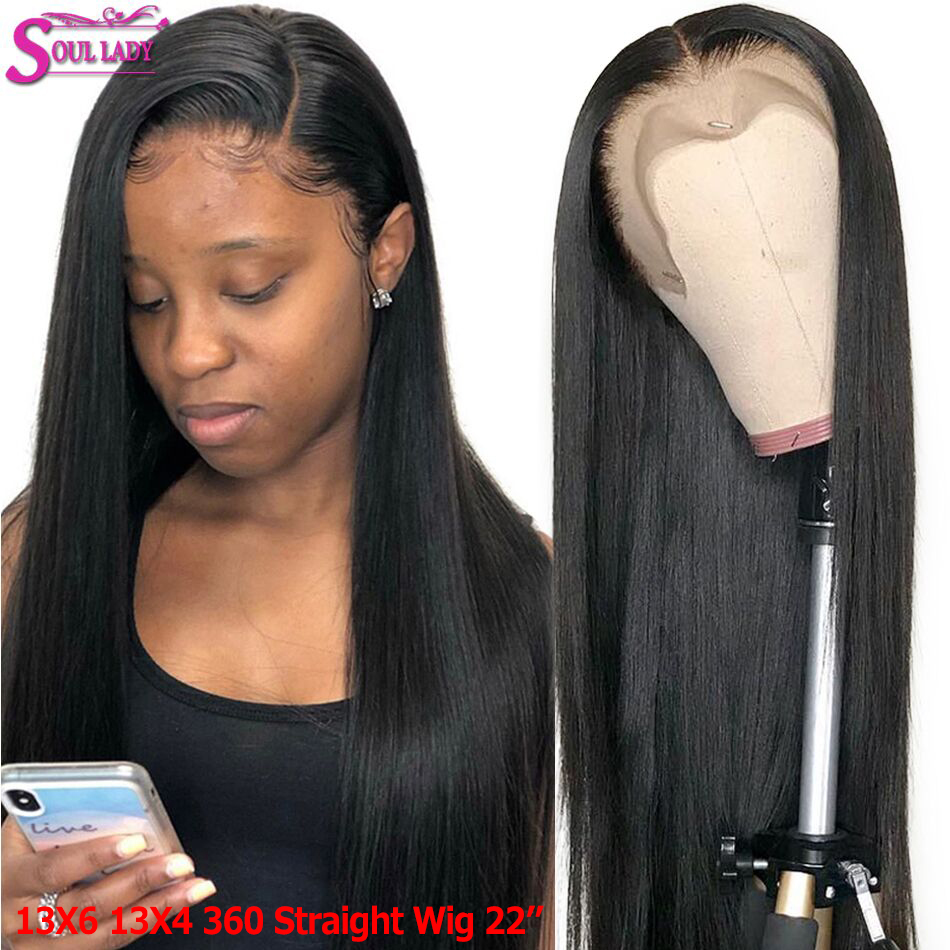 Soul Lady Pre Plucked 13x6 13x4 Glueless Lace Front Human Hair Straight Wigs For Women 150% Malaysian Hair 360 Lace Frontal Wig