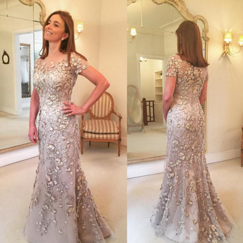 Mother of the  Bride Dresses 2019 Mermaid Long with sleeves floor length plus size Appliqued formal evening prom party gown