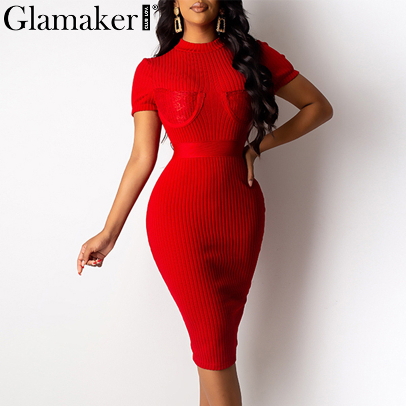 Glamaker Lace Patchwork Sexy Women Red Dress Knitted Party Bodycon Short Sleeve Dress Elegant Black Club Summer Midi Night Dress