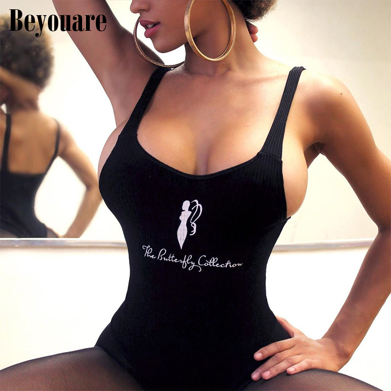 Beyouare Sexy Letter Printed Sleeveless Tank Bodysuit Women Scoop Neck Black Casual Skinny Bodysuits One Piece Body Bodysuits