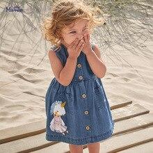 Little Maven/2021 г. Летняя одежда для маленьких девочек детский джинсовый сарафан с единорогом платье без рукавов для детей, От 2 до 7 лет