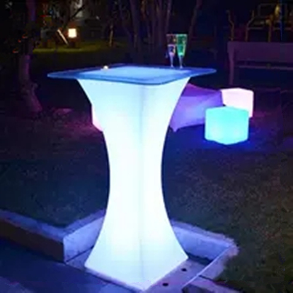 New Led Bar Furniture Colorful Rechargeable Wine Table Waterproof Luminous Cocktail Table KTV Disco Bar Supplies