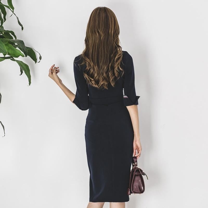 Dark Blue Blazer Dress Elegant Women Leather Belt Office Work Business Formal Double Breasted 3/4 Sleeve Split knee Dresses