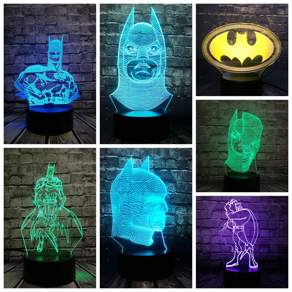 2018 NEW Bat Batman Mask 3D LED LAMP NIGHT LIGHT Multicolor RGB Bulb Lighting Decorative Gift Cartoon Figure USB Toys Luminaria