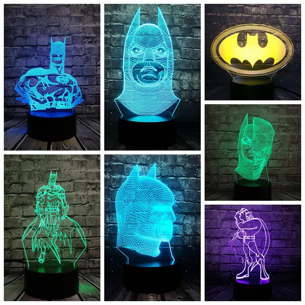 2018 NEW Bat Batman Mask 3D LED LAMP NIGHT LIGHT Multicolor RGB Bulb Lighting Decorative Gift Cartoon Figure USB Toys Luminaria