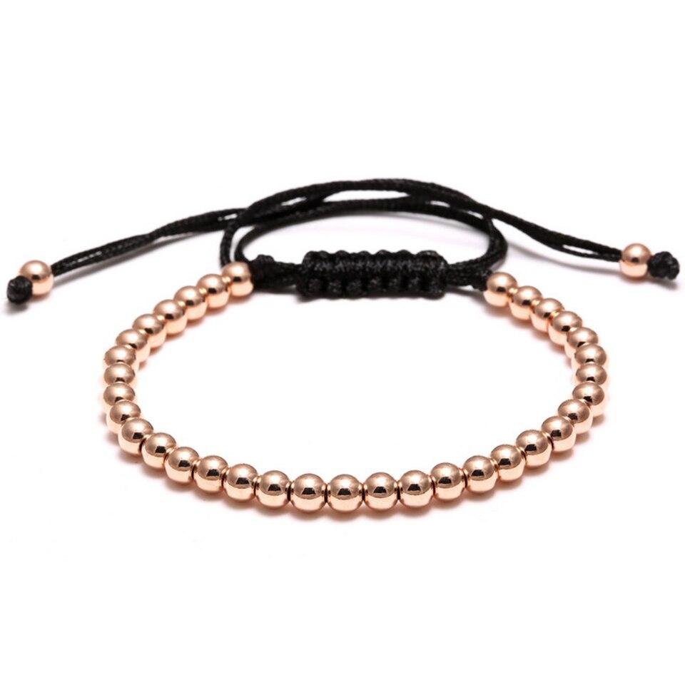 Copper Bead Woven Bracelet Hiphop Rock Street Culture Copper Alloy Bead Woven Chain Bracelet Men Fashion Trendy Jewelry Gift 3