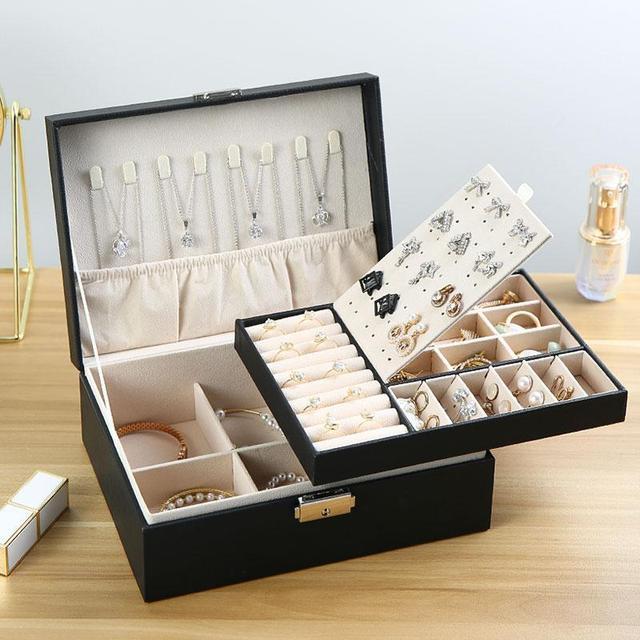 Caixa de armazenamento de jóias de couro do plutônio caixa de embalagem multi-função de estilo europeu portátil com gaveta presente de inverno 3