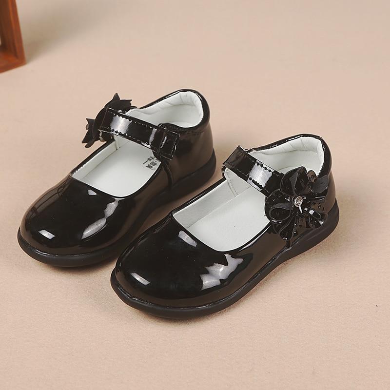 Anne ve Çocuk'ten Deri Ayakkabılar'de 2020 bahar yeni çocuk çocuk deri ayakkabı kızlar prenses ayakkabı siyah okul ayakkabısı öğrenci kız elbise ayakkabı 4 5 6 7 8 9 15T title=