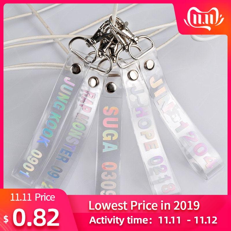 1PC Fashion KPOP Keyring Transparent KOOKIE Key Chain Bangtan Boys Love Yourself SUGA J-HOPE Rope Keychain Jewelry