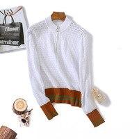 Design Hollow Out Sweater Women Pullover Long Sleeve Autumn Jumper Knit Tops Zip Striped Sweater Runway