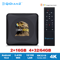 HK1RBOX Android 10,0 Dispositivo de TV inteligente RK3318 2,4G/5G Wifi BT 4,0 4K Media Player HK1 RBOX R1 MINI Google Set Top Box DDR3 2GB 4GB