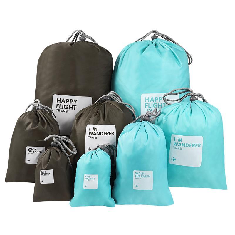 Vorcool 8 pçs saco de cordão de náilon impermeável saco de cordão de viagem saco de maquiagem de armazenamento de roupas saco de embalagem para viajar ao ar livre